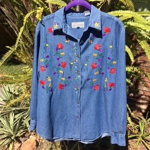 Embroidered floral print vintage denim shirt